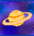 bright saturn cute planet in pixel art style vector image vector image