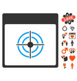 bullseye calendar page icon with lovely bonus vector image