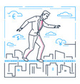 businessman walking on a cable - line design style vector image vector image