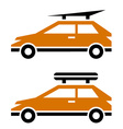 car with luggage roof rack icon vector image vector image