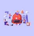 child bag with essential stuff for study vector image vector image