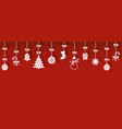 christmas hanging icons with shadow vector image vector image