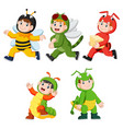 Collection of children wearing cute insect animal