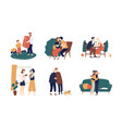 collection of cute people giving holiday gifts vector image vector image