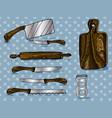 color hand-drawn artwork kitchen utensils vector image