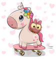 cute unicorn with owl on a skateboard vector image