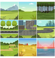 different natural summer landscapes set scenes of vector image vector image