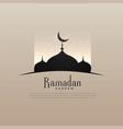 elegant ramadan kareem design with mosque and vector image vector image