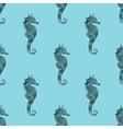 entangle stylized black sea horse blue seamless vector image