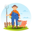 Farmer man on farming field with pig and pitchfork vector image vector image