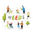 flat people characters with special needs disabled vector image