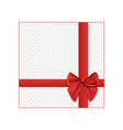 gift mockup with red ribbons and bow realistic vector image vector image