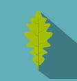 green oak leaf icon flat style vector image vector image
