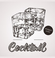 hand drawn sketch cocktail with text vector image vector image