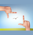 hands make frame vector image vector image