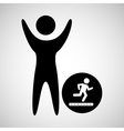 happy man with running icon vector image vector image
