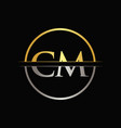 initial gold and silver color cm letter logo vector image vector image