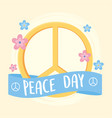 international peace day symbol with flowers vector image