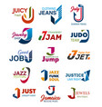 j letter business identity vector image vector image
