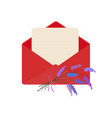 letter in red envelope with bouquet of lavender vector image vector image