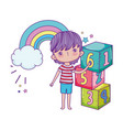 little boy with blocks numbers vector image