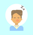 male sleeping emotion profile icon man cartoon vector image
