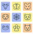nature icons set with cat deer mouse and other vector image