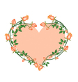 Orange Roses Flowers in A Heart Shape vector image vector image