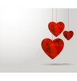 Polygonal red hearts Beautiful banner design for vector image vector image