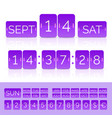 purple flip calendar with flat countdown timer vector image vector image