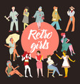 retro women collection vintage faceless ladies vector image vector image