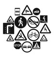 road sign set icons simple style vector image vector image