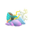 seashells composition with algae and corals vector image