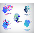 set human head creative mind think vector image vector image