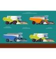 set of agricultural combine harvesters vector image