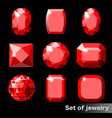 set of red gems ruby of various shapes vector image