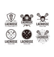 set vintage seal badge lacrosse sport logo vector image vector image