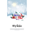 stack of gifts over winter forest landscape merry vector image