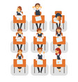 students sitting at desks in classroom front view vector image vector image