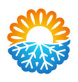 sun and snowflake symbol conditioning vector image vector image