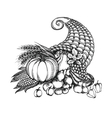 Thanksgiving cornucopia full of harvest fruits and vector image vector image