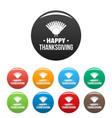 turkey happy thanksgiving icons set color vector image vector image