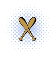 Two crossed baseball bats icon comics style vector image vector image