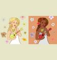 ukulele girls vector image