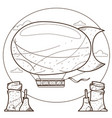 vintage airship outline drawing for coloring vector image vector image
