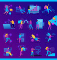 virtual reality flat icon set vector image vector image