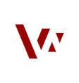 w negative space letter logo red color vector image vector image