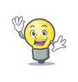 waving light bulb character cartoon vector image