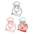 winking chef pig face character collection vector image