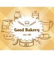 Retro craft bakery badge in vintage engraving vector image